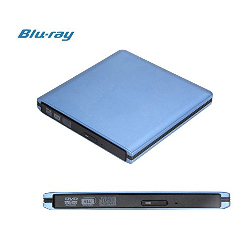 FastSnail USB 3.0 Aluminum External ODD (3D Blu-ray Disc Player & DVD/CD-RW Burner), Ultra Slim Portable HDD Device, Drive Combo for PC Apple Mac Laptop Desktops etc Blue