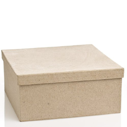 Square Paper Mache Boxes with Lids - Package of 4 (Paper Mache Square Box)