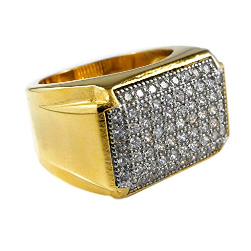 - Niv's Bling – Men's 18K Gold Ion Plated Cubic Zirconia Ring – AAA CZ Crystal Micropave Stainless Steel Hip Hop Ring Men, Size 6