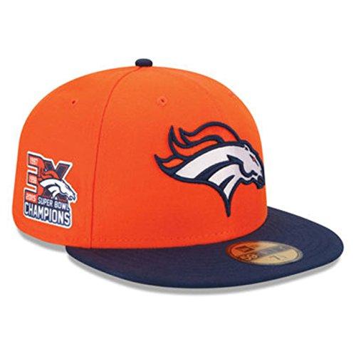 New Era NFL16 5950 Denver Broncos GM 3X Superbowl Champions In Orange and Navy SZ 7 - Exclusive Super Bowl