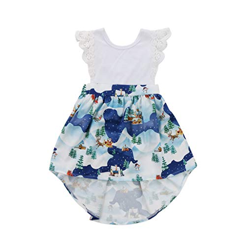 New Christmas Baby Girls Sister Romper Dress Matching Outfits Kids Cute Xmas Lace Romper Dress Patchwork Print Party Dresses L -