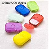 Moonbiffy 10 Box 200 Sheets Portable Soluble Disinfeclant Soap Paper,Mini Portable Travel Soap Paper Sheets Travel Camping Hiking Washing Hand (Color Random)