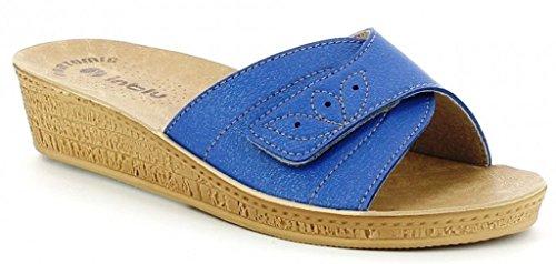 INBLU - Zapatillas de estar por casa para mujer azul Jeans 41