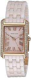 Anne Klein Women's AK/2138RGLP Rectangular Swarovski Crystal Accented Rose Gold-Tone and Light Pink Ceramic Bracelet Watch