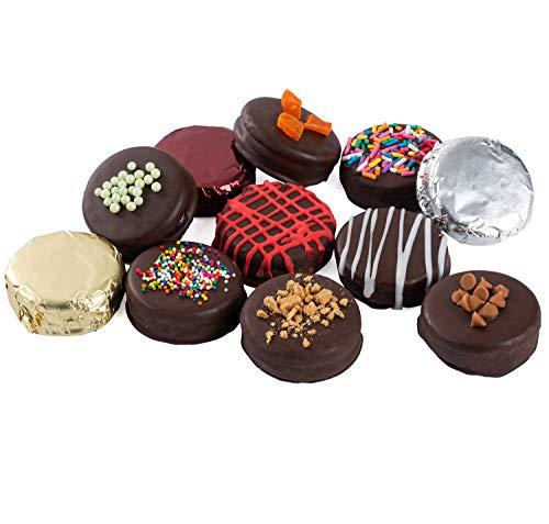 Hazel & Creme Happy Birthday Cookie Gift – 12 Cookies – Birthday Food Gift – Chocolate Covered Cookies – Chocolate Gift…