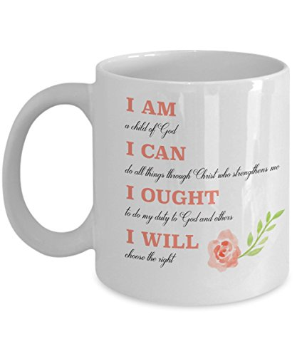 Charlotte Mason Mug - I am I can I ought I will with Watercolor Flowers - 11 oz White Ceramic Coffee Mug, Made in the USA