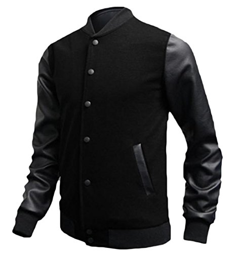 Patched Jackets Leather Thin Mens Baseball Casual Outerwear Tootlessly Black qSxAE7
