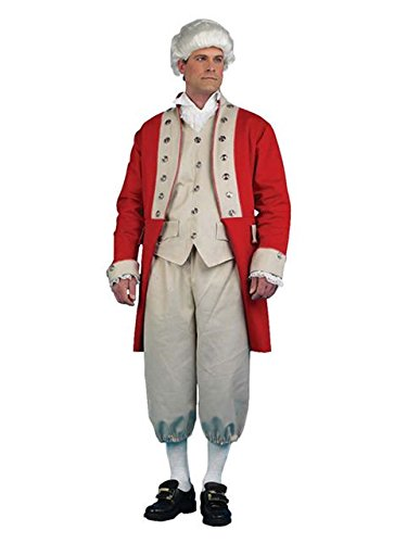 British Redcoat Men's Costume, Red, X-Large (Redcoats Costume)