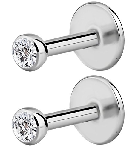 Forbidden Body Jewelry 2-Pack: 18G 4mm Surgical Steel Internally Threaded Micro CZ Gem Top Tragus/Helix/Labret Stud with 2mm Top ()