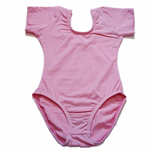 Balletgirls Kids Girls' Rhythmic Gymnastics Short Sleeve Leotard For Pink 4T Size by Ballet Girls