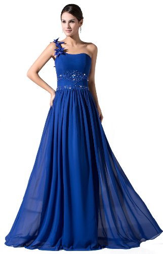 herafa p31025-10 Evening Gowns Elegant One Shoulder Sleeveless Delicate Beading Handmade Flowers Long 0 A-Line Blue