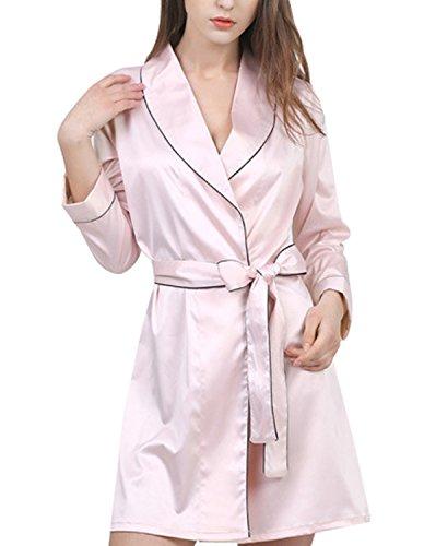 Burvogue Mujer Manga Larga Camisón De Satén Kimono Albornoz Rosa