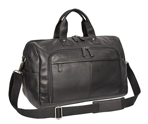 Black Real Leather Holdall Weekend Bag Business Travel Overnight Gym Bag Manila by A1 FASHION GOODS