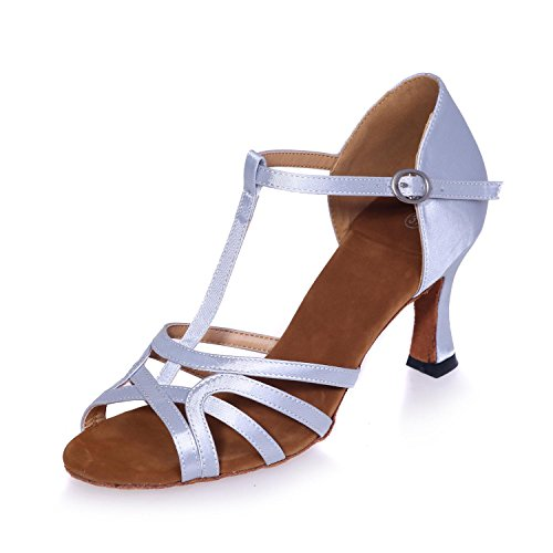 L@YC Zapatillas De Baile De Mujer Zapatillas De Danza Del Vientre / Latino / Moderna / Cintura Fina De SatéN Con Multi-Color Custom silber