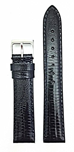 - 16mm Black Genuine Leather Watch Band | Teju Lizard Grain, Lightly Padded Replacement Wrist Strap That Brings New Life to Any Watch (Mens Standard Length)