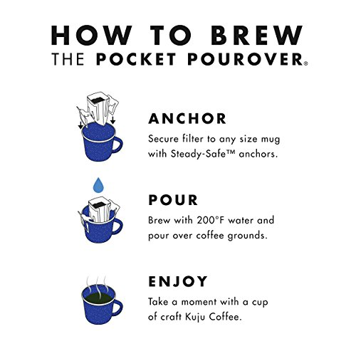 Kuju Coffee Pocket PourOver - Single Serve, Portable Pour Over Coffee - No Equipment Needed - Made with Ethically-Sourced Specialty Coffee - 10-pack   Basecamp Blend, Medium Roast by KUJU COFFEE (Image #3)