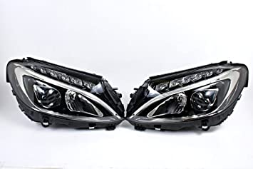 Amazon com: LED Headlights Front Lamps PAIR Fits Mercedes C