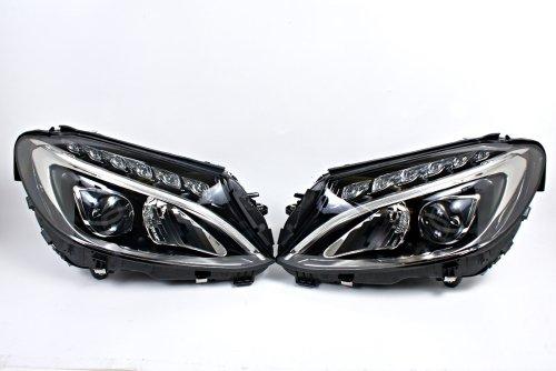 LED Headlights Front Lamps PAIR Fits Mercedes C-Class W205 Sedan 2015-