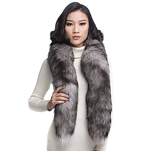 - URSFUR Silver Indigo Fox Fur Boa Scarf