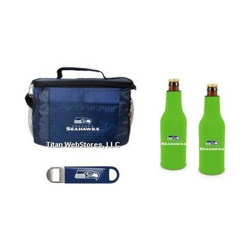 (NFL Football Team Logo 6 Pack Tailgating Cooler, Bottle Suits & Beer Opener Gift Set (Seahawks))