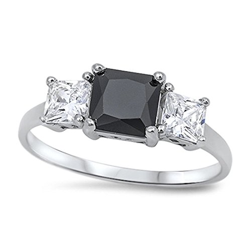 3 Stone Wedding Engagement Ring Simulated Jet Black Princess Cut Square CZ 925 Sterling Silver ()