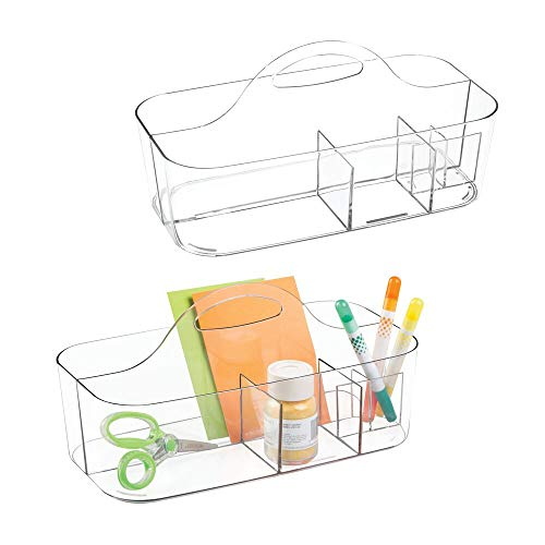 (mDesign Plastic Portable Craft Storage Organizer Caddy Tote, Divided Basket Bin with Handle for Craft, Sewing, Art Supplies, Holds Paint Brushes, Colored Pencils, Stickers, Glue, Large, 2 Pack - Clear)
