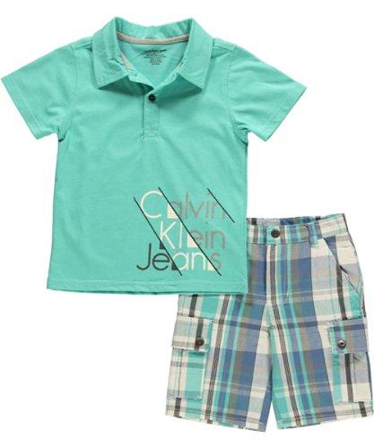 Calvin Klein Boys 2-7 Cargo Shorts, Green, 4
