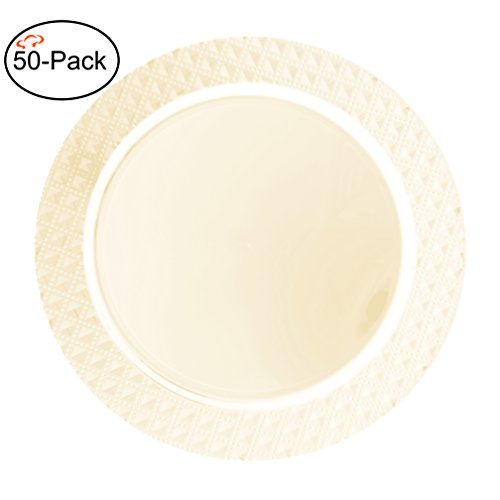 Tiger Chef 50-Pack 13 inch Round Cream Diamond Plastic Charger Plates Disposable Set of 2, 4, 6, 12 or 24 for Parties, Wedding, and Special Events