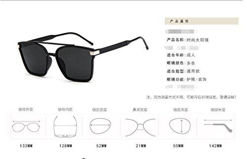 gafas de de sol sol la Box Bright Colorido gran personalidad gafas blue GLSYJ gafas sol and black trama LSHGYJ doble de retro la haz gafas OwXAqR0E