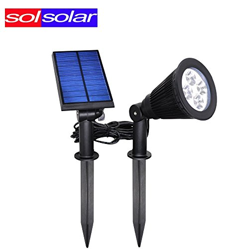 Outdoor lighting poles amazon falove solar lights2 in 1 waterproof 4 led spotlight adjustable wall light landscape light security lighting dark sensing auto onoff for patio deck yard aloadofball Image collections