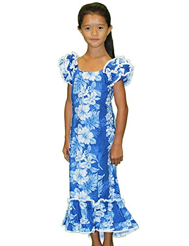 Royal Blue and White Hibiscus Hawaiian Muumuu Dresses for Girls Made in Hawaii-4