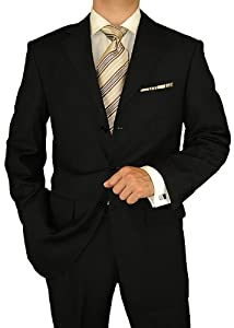 B002NQTANM Gino Valentino Men's 3 Button Jacket Flat Front Pants Black Shadow Stripe Suit (42 Long)
