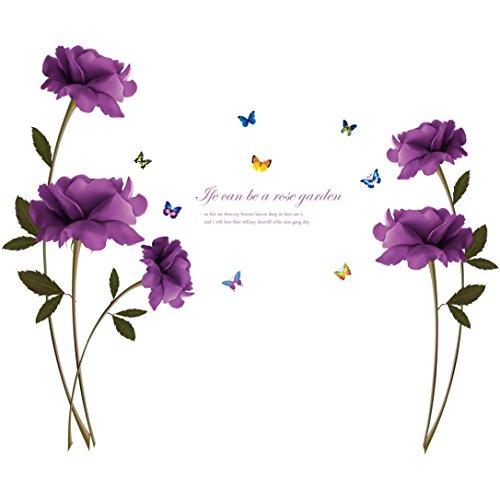 Rumas DIY Purple Rose Print Removable Room Home Decor Cartoon Wall Stickers Decal