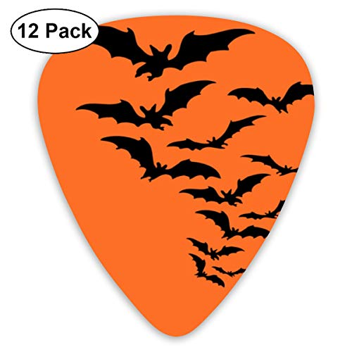 Halloween Bat Horror Film Orange Ghost Small Medium Large 0.46 0.73 0.96mm Mini Flex Assortment Plastic Top Classic Rock Electric Acoustic Guitar Pick Accessories Variety Pack ()