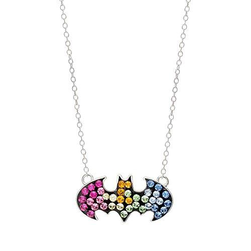 DC Comics Batman Sterling Silver Swarovski Rainbow Crystal Logo Pendant, (Crystal Logo Pendant)