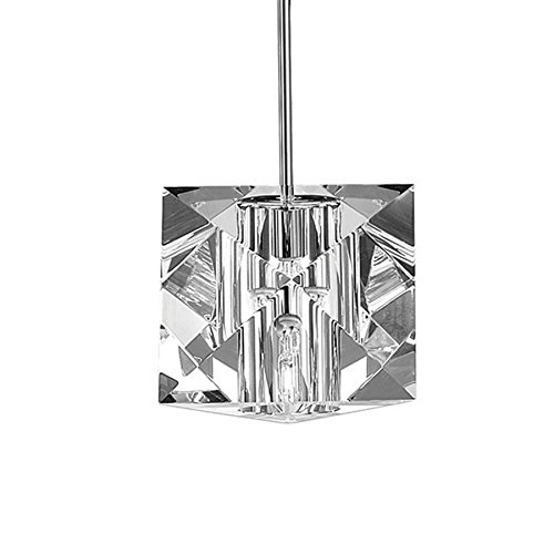 WAC Lighting MP-940-CL/CH Prisma Collection 1-Light Monopoint Pendant, Chrome with Clear Optical Crystal Glass (Monopoint Collection)
