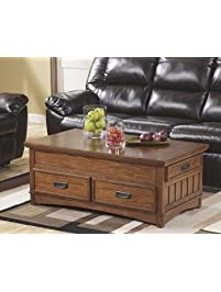 Ashley Furniture Signature Design   Cross Island Coffee Table With Storage    Cocktail Height   Rectangular