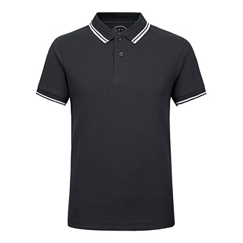 (Modern Tee Men's Cotton Polo Shirt Short Sleeve Striped Classic Pique Relaxed-Fit Washed Polo Solid (Black, S))