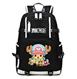 Gumstyle One Piece Anime School Bag Backpack Shoulder Book Bags for Boys Girls Students Tony Tony Chopper Black 2