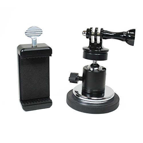 Action Magnet - Livestream Gear - Rubber Coated Magnetic Phone Mount w/Ball Head for Sport Camera, DLSR, and Regular Size Phones. Great for Video, Pictures, Livestreaming, or WOD. (Phone XL Magnet)