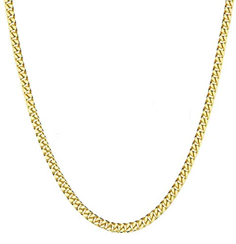 FZTN Jewelry Mens Classic Miami Cuban Link Chain Necklace 3mm Heavy Thick 18K Gold Plated Diamond Cut Stainless Steel Rapper Necklace ()