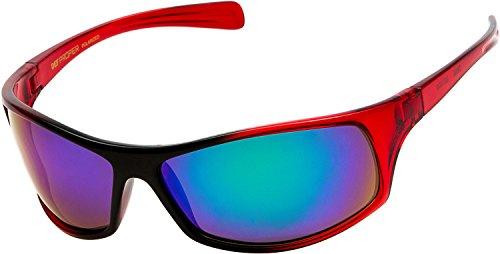 DEF Proper Polarized Wrap Around Sports Sunglasses, Red, Mystic Mirror ()