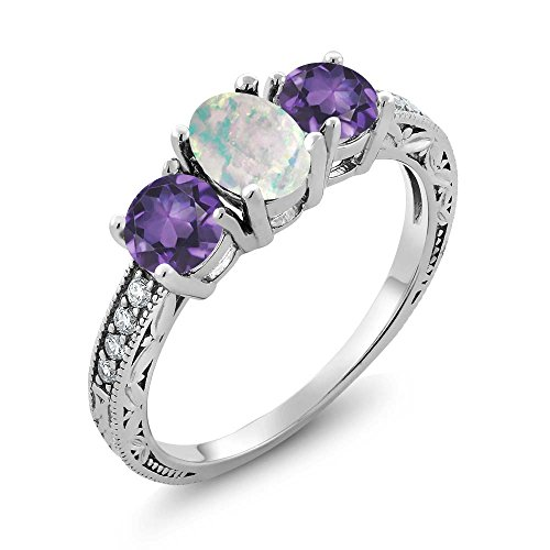 Sterling Silver Cabochon Amethyst Ring - Gem Stone King 1.65 Ct Oval Cabochon White Simulated Opal Purple Amethyst 925 Sterling Silver Ring (Size 9)