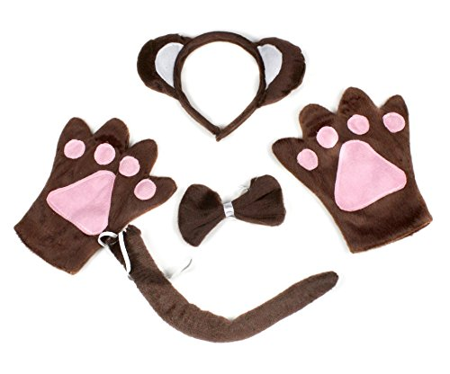 Monkey Animal Headband Bowtie Tail Gloves 4pc Costume for Child Birthday Party (Costume Monkey Tail)