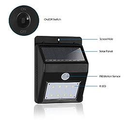 eTopLighting 3 Packs of LED Solar Power Outdoor Wall Light Black with PIR Motion Sensor, Night Sensor, Water Proof, Heat Proof, Solar Panel, High Light, Dim Light, AGG2002