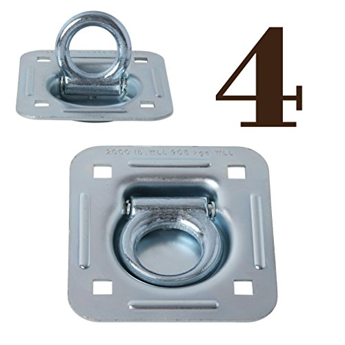 Recessed Tie Downs - 4 Pack | D Ring Tie-Down Anchors (Large Square), Recessed Pan Fitting DRings Heavy Duty Steel Cargo Tie Downs,Truck/Trailer/Flatbed/Pickup Anchor, Note: Plate and Hardware NOT Included.