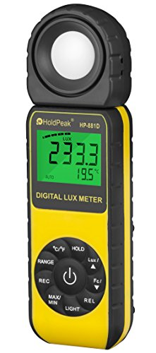 HOLDPEAK 881D Digital Illuminance/Light Meter, 0.1-400,000 Lux, 1-40,000 FC Luxmeter by H HOLDPEAK