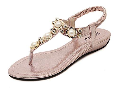 Easemax Donna Casual Open Toe T-strap Elastico Perline Boho Zeppe Sandali Perizoma Con Strass Rosa