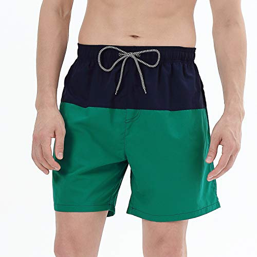 (anqier Mens Swim Trunks Quick Dry Beach Shorts Mesh Lining Board Shorts Swimwear Bathing Suits with Pockets (Navy&Dark Green, US XL (Fits Waist 36.5