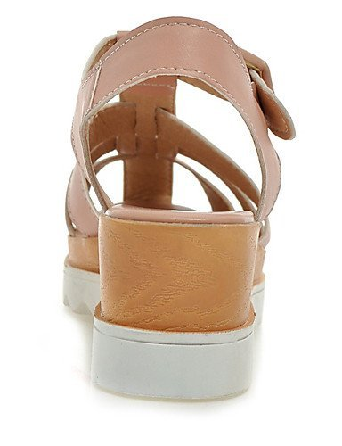 ShangYi Womens Shoes Leatherette Wedge Heel Wedges Sandals Casual Pink / White / Beige Beige